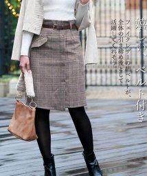 miniministore/ミモレ丈 スカート レディース グレンチェック スカート ハイウエスト 不規則スカート/501365838