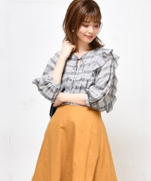 NICE CLAUP OUTLET/【natural couture】いろいろ柄ギャザーフリルブラウス/501359789