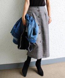 and Me.../【S-5】チェック柄 タイトスカート フロントボタン ロングスカート/501367650