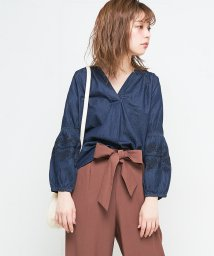 NICE CLAUP OUTLET/【natural couture】デニム刺繍スキッパー/501361264