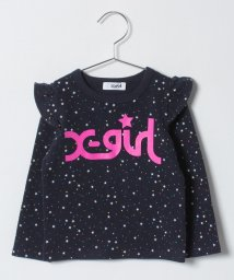 X-girl Stages/ロゴ入りフリルTシャツ/501364794