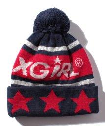 X-girl Stages/ポンポンつきロゴ入りニット帽/501364798