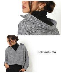 Settimissimo/グレンチェック抜け襟風デザイントップス/501377225