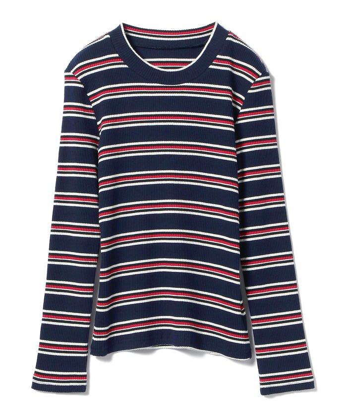 BEAMS WOMEN テレコ マルチボーダー Tシャツ