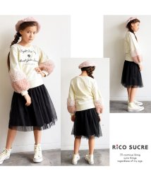 RiCO SUCRE/袖ファー付きロゴプリントトレーナー/501382693