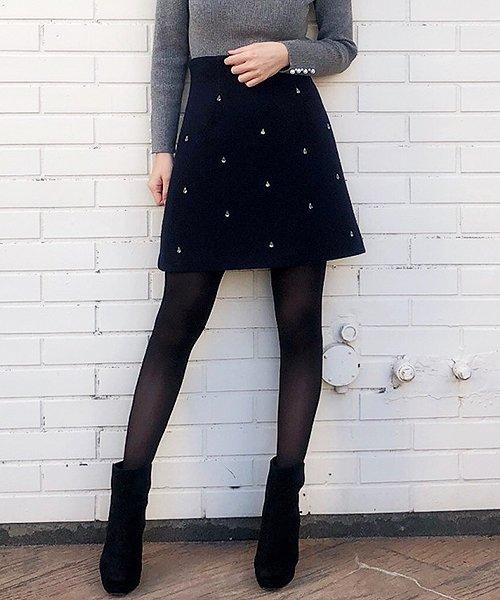 トランテアン ソン ドゥ モード  ビジュー台形スカート