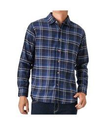 MAC HOUSE(men)/Navy フランネルチェックレギュラーシャツ NG185-MF007/501390557