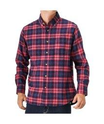 MAC HOUSE(men)/Navy フランネルチェックボタンダウンシャツ NG185-MF008/501390561