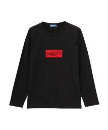 MAC HOUSE(kid's)/Navy フェルトロゴ長袖Tシャツ EJ185-KB061/501390703