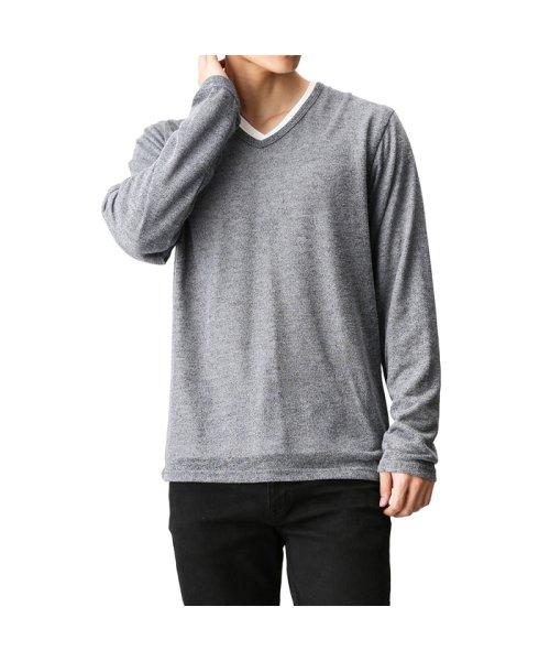 MAC HOUSE(men)(マックハウス(メンズ))/Real Standard Vネックニットソーアンサンブル長袖Tシャツ 73-7108P-ND/01221700370