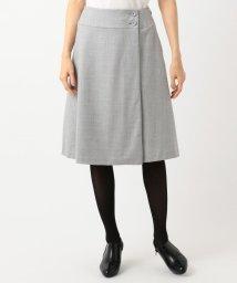 KUMIKYOKU(LARGE SIZE)/【洗える】ウールハイカウントフラノ スカート/501393518