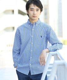 coen/微起毛ギンガムチェックボタンダウンシャツ/501383555