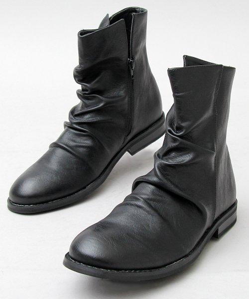 glabella(グラベラ)/ドレープブーツ/ミドル丈サイドジップブーツ/GLBB-002