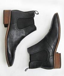 glabella/ヒールアップウイングチップサイドゴアブーツ/ロングノーズショートブーツ/501391182