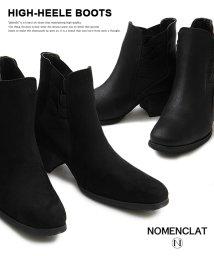 NOMENCLAT/デザインサイドゴアハイヒールブーツ/501391231