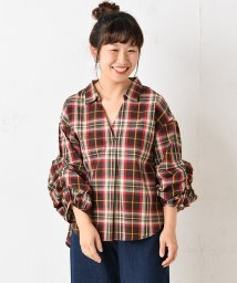 NICE CLAUP OUTLET/袖だんだんチェックブラウス/501387206