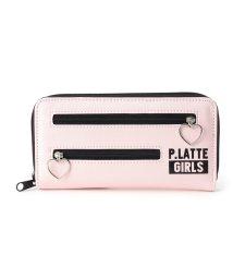 PINK-latte/ハートフープWジップ ウォレット/501407110