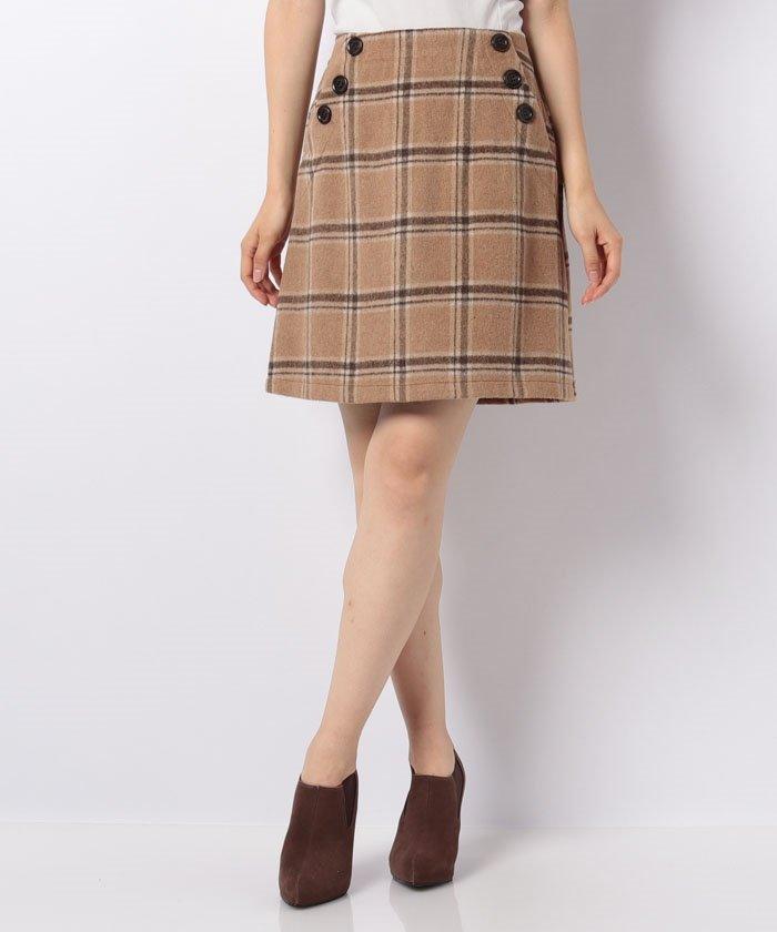 イング  シャギーチェック台形スカート