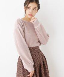 pink adobe/ベロアリブ プルオーバー/501411151