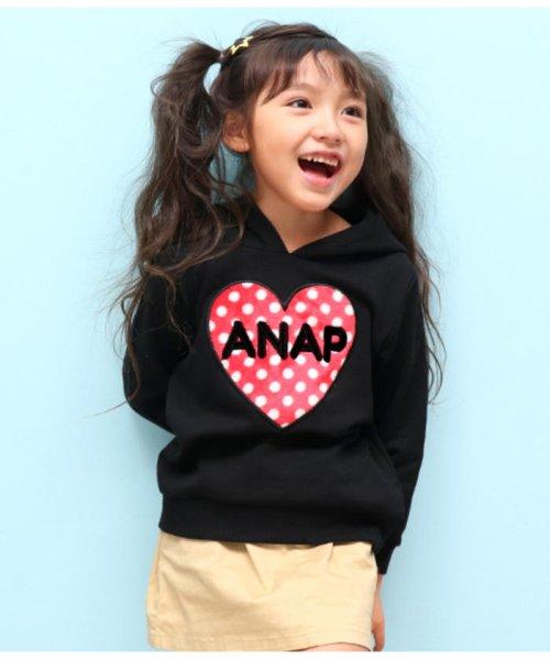 119ef1bff6cab ANAP KIDS(アナップキッズ) ボアアップリケパーカー ブラック