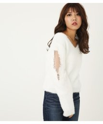 rienda/ショルダーエンブロ flower knit TOP/501420825