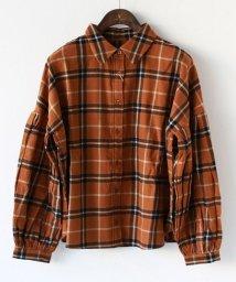REAL CUBE/Nougatine パフスリーブネルチェックシャツ/501423115