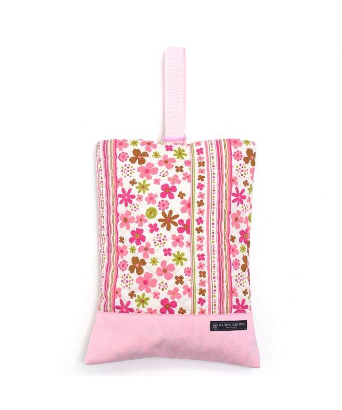 カラフルキャンディスタイル シューズケース キルティング(ネームタグ付き) スカンジナビアのフラワーパーク(ピンク) キッズ ピンク フリー 【COLORFUL CANDY STYLE】