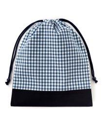 COLORFUL CANDY STYLE/巾着 大 体操服袋(ネームタグ付き) チェック大・紺 × オックス・紺/501440157