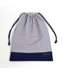 COLORFUL CANDY STYLE/巾着 大 体操服袋(ネームタグ付き) ヒッコリーストライプ・紺 × 帆布・紺/501440158