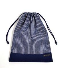 COLORFUL CANDY STYLE/巾着 大 体操服袋(ネームタグ付き) ピンストライプ・インディゴ × 帆布・紺/501440159