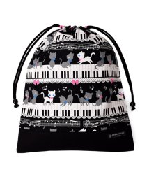 COLORFUL CANDY STYLE/巾着 大 体操服袋(ネームタグ付き) ピアノの上で踊る黒猫ワルツ(ブラック) × オックス・黒/501440161