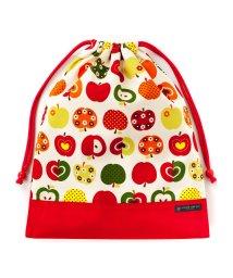 COLORFUL CANDY STYLE/巾着 大 体操服袋(ネームタグ付き) おしゃれリンゴのひみつ(アイボリー) × オックス・赤/501440162