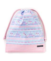COLORFUL CANDY STYLE/巾着 大 体操服袋(ネームタグ付き) レースチュールとメリーゴーランド(ライトブルー) × オックス・ピンク/501440166