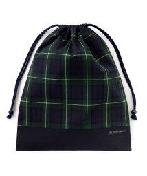 COLORFUL CANDY STYLE/巾着 大 体操服袋 タータンチェック・ダークグリーン × オックス・紺/501440170
