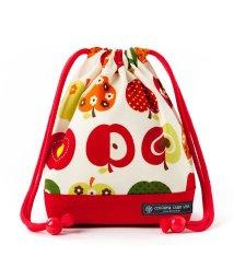 COLORFUL CANDY STYLE/巾着 小 コップ袋(ネームタグ付き) おしゃれリンゴのひみつ(アイボリー) × オックス・赤/501440171