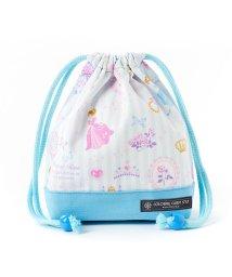 COLORFUL CANDY STYLE/巾着 小 コップ袋(ネームタグ付き) プリンセスドレスで彩るパウダールーム(ストライプ)×オックス・水色/501440174