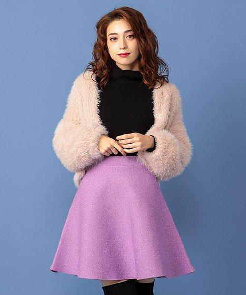 MIIA(ミーア)/ラメミニフレアニットスカート/32845636