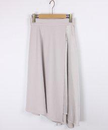 LASUD/【スール soeur7】ウール×サテン イレギュラーヘム ラップ風 ロングスカート/501417061