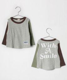 petit main/袖配色Tシャツ/501422404