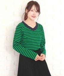 Amulet/ボーダーカットソー 韓国 ファッション レディース カワイイ オシャレ シンプル ストライプ【A/W】【vl-5301】/501442545