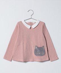 petit main/ふわふわネコだまし絵ポシェット裏起毛Tシャツ/501422412