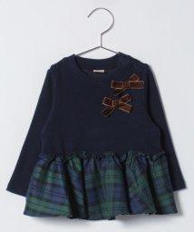 petit main/リボンつきチェックフリルリブTシャツ/501422413