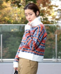 BEAMS OUTLET/Ray BEAMS / ラメ ジャカード ボーダー タートルネックニット/501354001