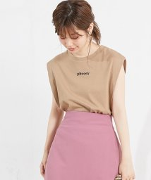 NICE CLAUP OUTLET/【natural couture】ちびロゴ刺繍ノースリTシャツ/501434536