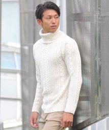 SPADE/セーター ニットフィッシャーマンメンズ タートルネック ハイネック ニットソー セーター sweater きれいめ ブラック グレー 白 ホワイト 紺 ネイビー/501446704
