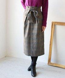 REAL CUBE/Lupino フロントリボンチェックタイトスカート/501449819