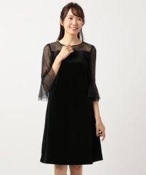 KUMIKYOKU(LARGE SIZE)/【結婚式やパーティーに】ベルベットコンビチュールレース ドレス/501452124