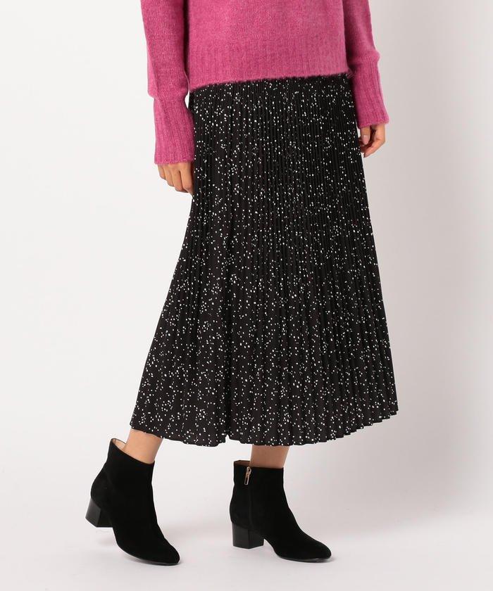 FREDY&GLOSTER ドットプリントプリーツロングスカート