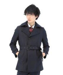 TAKA-Q/ライナー付きシングルトレンチコート ジャガード ネイビー/501454978