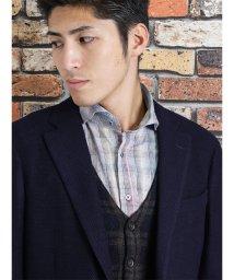 TAKA-Q/新彊綿ブレンドチェック柄長袖シャツ/501455109